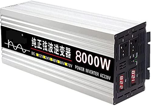 Transformador de Voltaje 8000W Inversor de Potencia de automóvil 12V 24V 48V 60V a 220V 230V Onda sinusoidal Pura,inversor de Onda sinusoidal Pura,2 Tomas de CA,para automóvil,Caravana (24V,8000W)