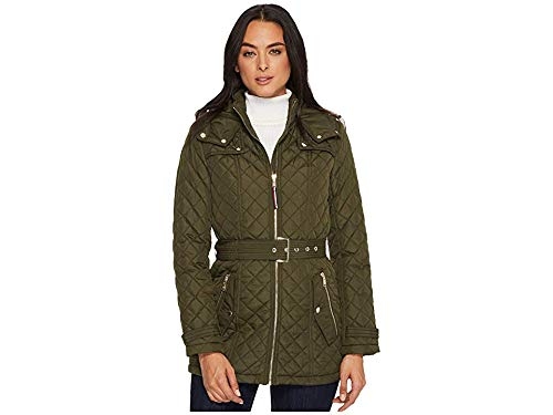 Tommy Hilfiger womens Zip Front Belted Diamond Quilt Hooded Jacket
