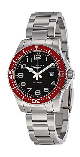 Longines Hydroconquest Quartz Stainless Steel Mens Watch Red Bezel L3.688.4.59.6