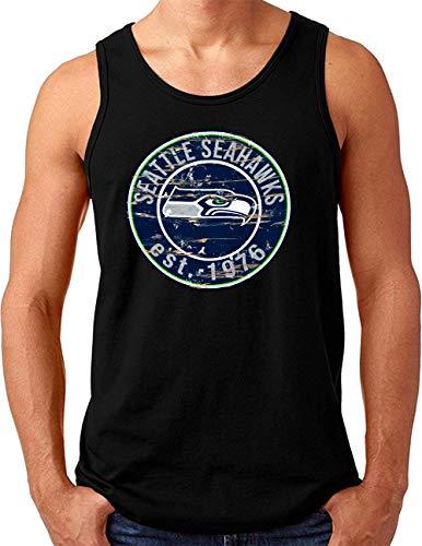 OM3® Seattle Badge Tank Top Shirt | Herren | American Football Shirt | Schwarz, XL