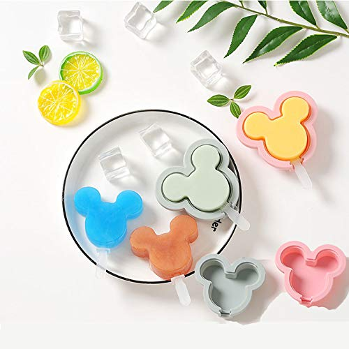 Silicone Popsicle Molds, Ice Cream Molds 4 Pack Reusable Soft Silicone Pop Maker with Lid Popsicle Sticks, Easy Release BPA Free Molds for Kids(Mouse)