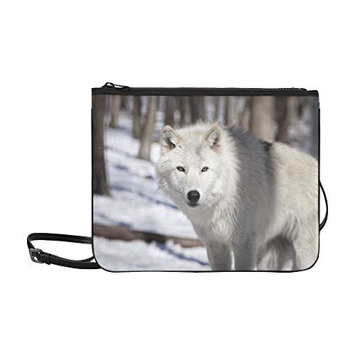 WYYWCY Tundra Wolf Custom High-Grade Nylon Slim Clutch Bag Umhängetasche Umhängetasche