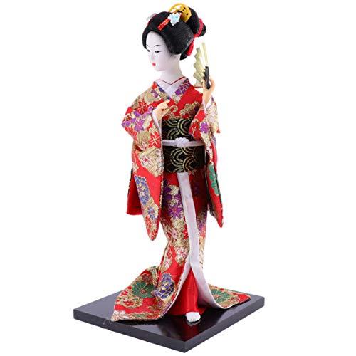 CLISPEED 12 Zoll Japanische Geisha Kimono Puppe Ornament Asiatische Geisha Sammlerfigur Figur Geschenk für Büro Bar Home Party Tischdekoration Stil 1