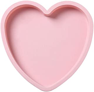 BCDlily 6inch/8inch Silicone Heart Shape Cake Pan Mold Non-Stick Mousses Bread Mould Baking Pans Tray (Pink, L)