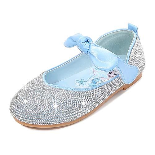 STRDK - Zapatos de fiesta para nias, princesa, para cosplay, Elsa, reina de la nieve, purpurina Mary Jane, color Azul, talla 27 EU