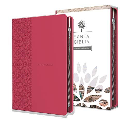 Biblia Reina Valera 1960 letra grande. Símil piel fucsia, cremallera, tamaño manual / Spanish Holy Bible RVR 1960. Handy Size, Large Print, Leathersoft, Zipp (Spanish Edition)