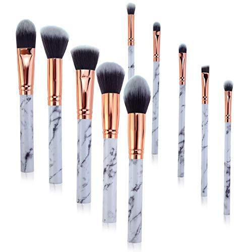 10 Brosses À Outils De Maquillage En Marbre, Brosses De Fond De Teint Fard À Paupières, Outils De Maquillage