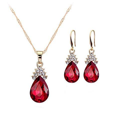 Scrox 2X Conjuntos de Joyas para Mujer con Forma de Gota de Agua (Rojo