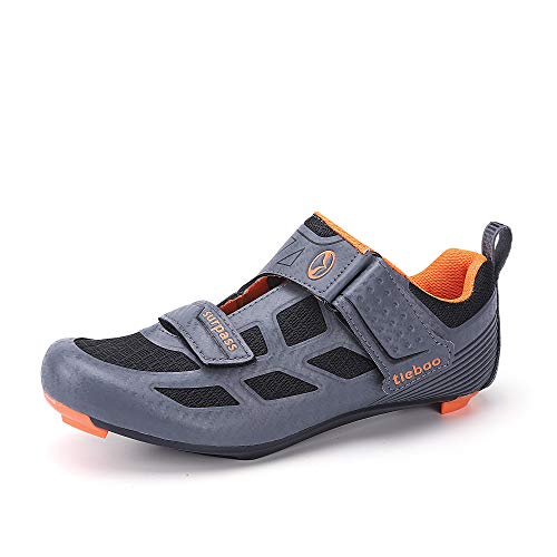 Triathlon Cycling Shoes for Outdoor Road Bike Racing or Indoor Training Peloton Spinning Class 3-Hole Cleat System Compatible Grey 8.5 US