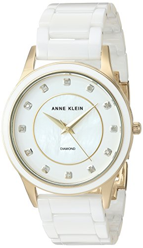 Anne Klein Women's AK/2392GPWT Diamond-Accented Gold-Tone and White Ceramic Bracelet Watch