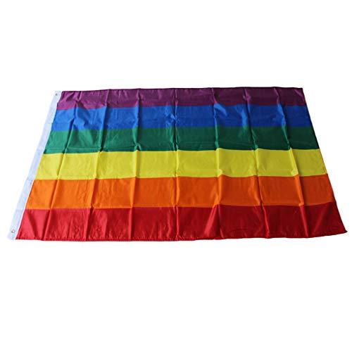 Vaeiner 90x150cm Grote Kleurrijke Regenboog Vlag LGBT Vrede Gay Pride Lesbische Parade Banners Cross Strepen Party Decor met Messing Grommets