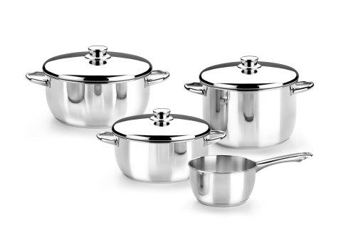 Monix Optima - Menaje 4 Piezas de Acero Inoxidable 18/10, Apta para Todo Tipo de cocinas incluídas de inducción