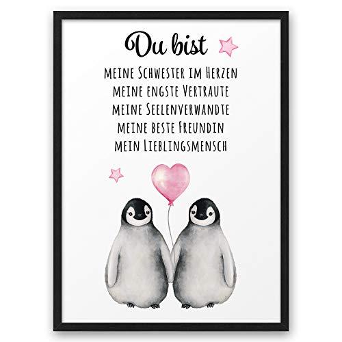 PINGUIN Du bist meine beste Freundin ABOUKI Kunstdruck Poster Bild Geschenk-Idee Freundschaft für Sie Frau Freundin Freundinnen - ungerahmt DIN A4