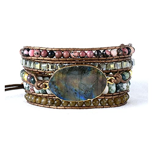 HUALIAN Pulsera Pulsera de Cuero Labradorita Crystal 5 Strands Woven Wrap Bracelets Bohemian Declaración Pulsera