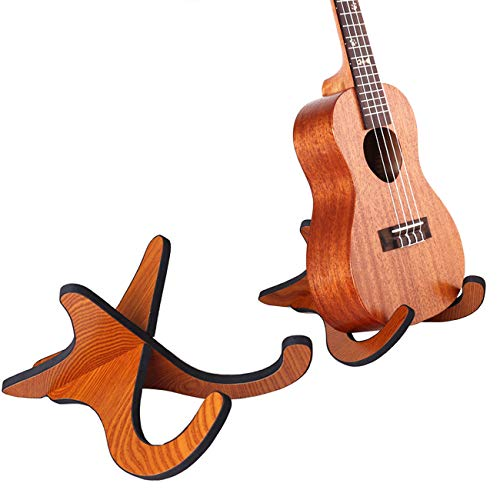 Tinsow Wooden Ukelele Stand Holder Musical Instrument Stand Concert Portable Wood Stand