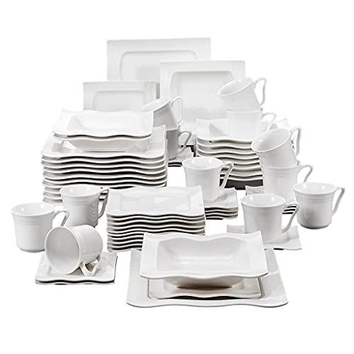 YWSZJ Conjunto de vajillas de Porcelana de 30/60 Piezas con 12 * Tazas, platillos, Sopa de Cena Placas de Postre Juego de cenas para 12 Personas (Size : 60 Piece)
