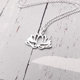 Sterling Silver Lotus Flower Charm Necklace 18'