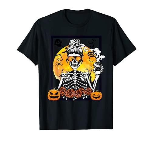 Camisa de caf con diseo de esqueleto, para disfraz de Halloween Camiseta