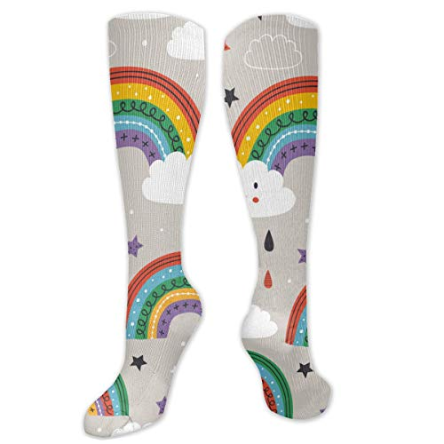 Unisex High Length Tube Socks High Length Tube Socks, patroon met schattige Rainbow Cloud Sun Compression Socks Boost Stamina.Grootte 8,5 x 50 cm