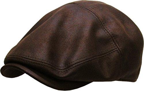 KBL-100 DBR L/XL PU Leather Ascot Ivy Newsboy Hat
