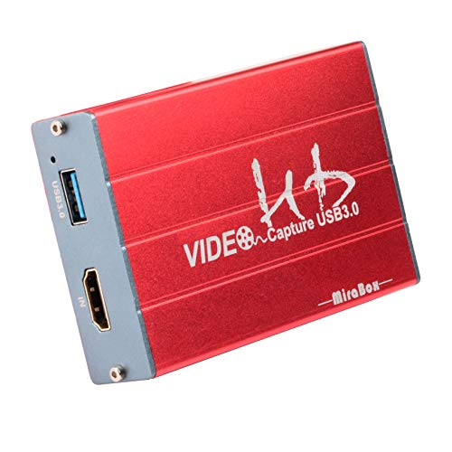 Mirabox Capture Card,USB 3.0 HDMI Game Capture Card Device Support HD Video 1080P Windows 7 8 10 Linux YouTube OBS Twitch for PS3 PS4 Xbox Wii U Streaming and Recording, HSV3211