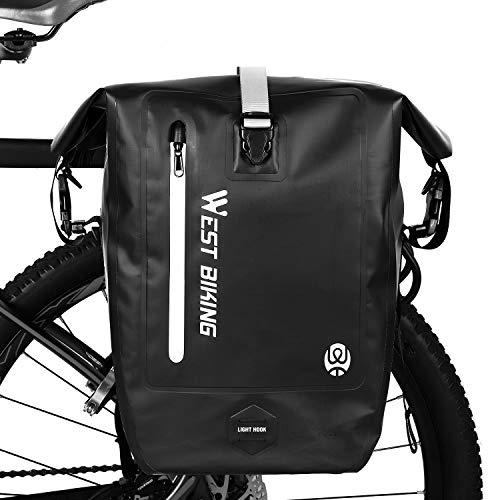 WESTGIRL Fahrradtasche für Gepäckträger, 25L wasserdichte Fahrrad Hinterradtasche Gepäckträgertasche Radtasche, tragbarer Rucksack Umhängetasche mit Schultergurt, Fahrradzubehör