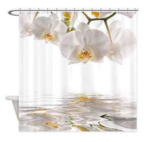 DJSK Cortinas de Ducha para baño Orquídeas Blancas Cortina de Ducha Alfombra Decorativa Tela de poliéster Impermeable Conjunto de Cortina de baño Decoración de baño para el hogar 180 * 180 cm