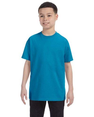 Hanes boys Cotton T-Shirt(5450)-Teal-S