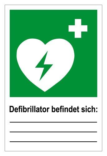 Rettungswegschild - Rettungswegzeichen - Defibrillator befindet Sich: - Kunststoff - 20 x 30 cm