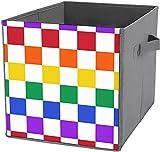 Cajas de almacenamiento para oficina | Caja cuadrada plegable para almacenamiento de almacenamiento, organizador duradero, a cuadros de colores arcoíris
