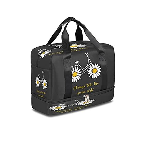 BOLOL - Bolsa de viaje para bicicleta, estilo vintage, bolsa de deporte, bolsa de gimnasio, bolsa de semanario floral de margarita para hombres y mujeres