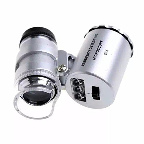 Goliton® Mini-Mikroskop Tasche 60x Magnifier Handjuwelier LED Lupe Lampe Lupe Licht-Lupe Vergrößerungsglas - Silber