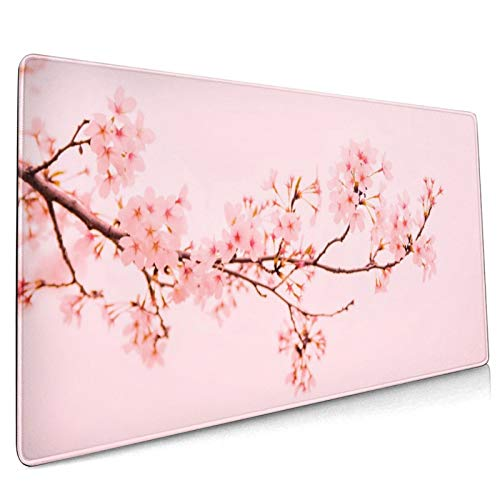 Pink Sakura Cherry Blossom Flower Gaming Mouse Pad, 35.4 X 15.7 in Large Non-Slip Rubber Mouse Mat, Stitched Edges Desk Pad Decor