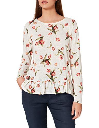 Springfield Camiseta Estampada Bajo Volante, Beige/Camel, M para Mujer