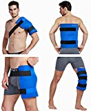 Koo-Care Large Flexible Gel Ice Pack & Wrap with Straps for Hot Cold Therapy - Pain Relief for Shoulder Rotator Cuff, Back, Hip, Knee Replacement - Sprains, Muscle Pain, Bruises, Injuries - 11' x 14'