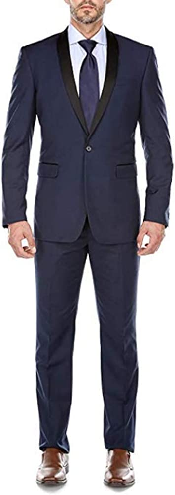 TOPG Men's Black 2 Pieces Shawl Lapel Slim Fit Business Suit Wedding Groomsmen Suit