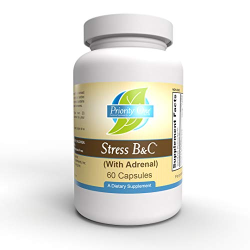 Priority One Vitamins Stress B & C 60 Capsules - B Complex with Whole Gland Adrenal to Support Healthy Nerves, Skin, Eyes, gastrointestinal, and Brain Functions.*