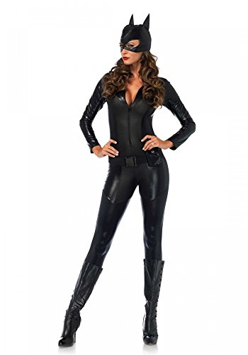 shoperama Captivating Crime Fighter Damen-Kostüm Leg Avenue Catsuit Katze, Größe:S