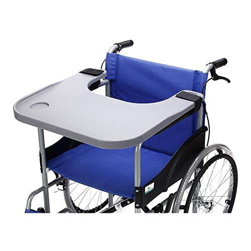 Rollstuhl Tablett Tisch mit Becherhalter Medical tragbar Knietablett Zubehör Kind Stuhl Tablett Schreibtisch für Essen Snack, Lesen (Grau)