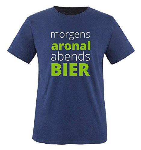Morgen ARONAL ABENDS Bier - Herren T-Shirt - Navy/Weiss-Grün Gr. XL