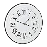 Relaxdays Reloj de Pared Vintage, Números Romanos, Silencioso, Metal, Ø58 cm, 1 Ud., Blanco