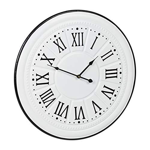Relaxdays Wandklok Vintage, Romeinse cijfers, zonder tickgeluid, keukenklok wand, metaal, antiek design, Ø 58 cm, wit, 1 stuk