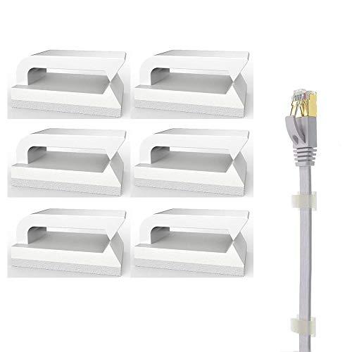 Selbstklebend Kabelclips (Weiß 50-Stück) Kabelhalter für Flachkabel Ethernet, Eiito Kabelbefestigung Drahthalter Kabelschellen Kabelklemme