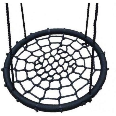 Fonetip Outdoor Nestschaukel | Garten Schaukel, Kinder Tellerschaukel 85 cm rund | bis 150 kg, 170 cm Seillänge | schwarz