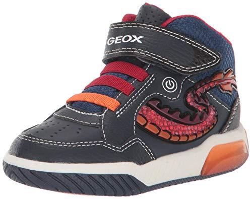 Geox Jungen J INEK Boy E Hohe Sneaker, Blau (Navy/Red C0735), 31 EU