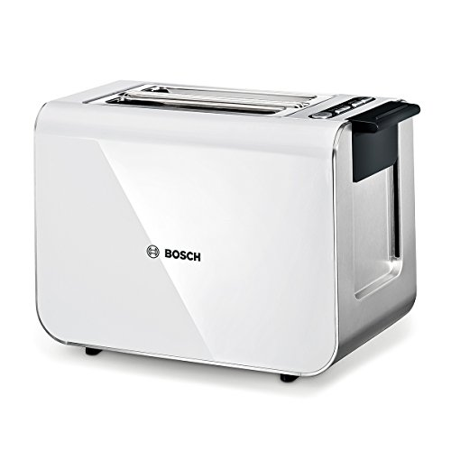 Bosch TAT8611 Styline Kompakt-Toaster, Auftau/Aufwärmfunktion, versenkbarer Brötchenaufsatz, Abschaltautomatik, 860 W, weiß