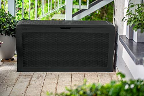 Keter Auflagenbox/Kissenbox Samoa 270L, Farbe Graphit - stilvolle Rattanoptik - 100% Wasserdicht - Mit Belüftungsystem zur Vermeidung unangenehmer Gerüche/Schimmel
