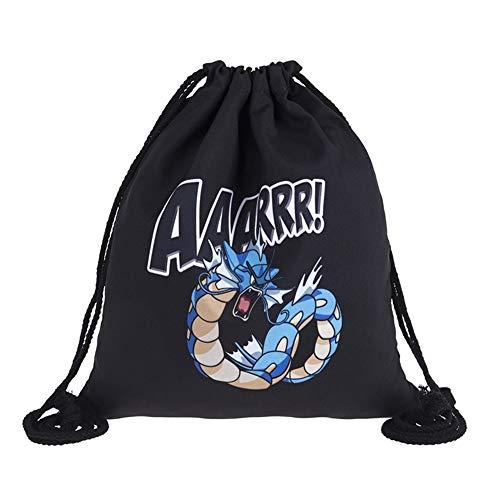 LINJIA Pokemon borsa di scuola Vari Stile Nero Tasca Mostro Stampa in Pelle Inferiore Zaino Donna Marca Uomini Tempo Libero Mochila Feminina Borsa con Coulisse