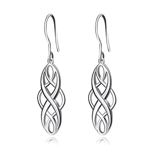 ALXDR Celtic Knot Dangle Earrings 925 Sterling Silver Pulido Drop Dangle Twist Wave Símbolo Ganchos Pendientes para Mujeres Niñas,Silver
