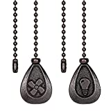Ceiling Fan Pull Chains - 2 Pieces Bronze Extension Fan, Lighting, Fan, Lamp Pull Chain Decorative Extender Ornament 12 Inch in Length, with 3 mm Diameter Beaded Ball Fan Chain Connector(Black Copper)